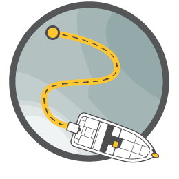Illustration of a boat following a track and backtracking
