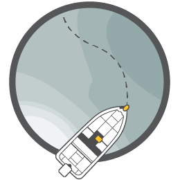 Illustration of a boat following an iTrack