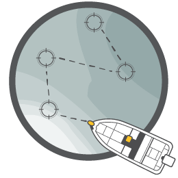 Illustration of a boat following a path from connected waypoints